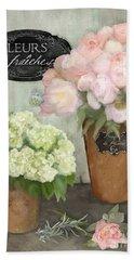 Marche Aux Fleurs 2 - Peonies N Hydrangeas Beach Sheet by Audrey Jeanne Roberts