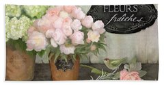 Beach Towel featuring the painting Marche Aux Fleurs 2 - Peonies N Hydrangeas W Bird by Audrey Jeanne Roberts