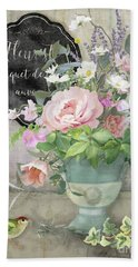 Beach Sheet featuring the painting Marche Aux Fleurs 3 Peony Tulips Sweet Peas Lavender And Bird by Audrey Jeanne Roberts
