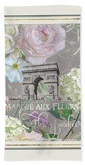 Marche Aux Fleurs Vintage Paris Arc De Triomphe Beach Sheet by Audrey Jeanne Roberts