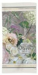 Beach Towel featuring the painting Marche Aux Fleurs Vintage Paris Eiffel Tower by Audrey Jeanne Roberts