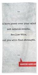 Marcus Aurelius Quotes 1 - Literary Quotes - Book Lover Gifts - Typewriter Quotes Beach Towel