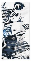 Beach Towel featuring the mixed media Marcus Mariota Tennessee Titans Pixel Art by Joe Hamilton