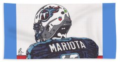 Marcus Mariota Titans 2 Beach Sheet by Jeremiah Colley