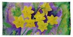 Mardi Gras Daffodils Beach Sheet by Margaret Bobb