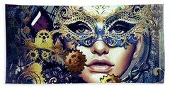 Mardi Gras Mask Beach Sheet