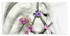 Mare With Flowers Beach Sheet