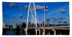 Margaret Hunt Hill Bridge Dallas Flood Beach Towel by Kathy Churchman