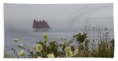 Margaret Todd Sailing On A Foggy Evening Beach Towel by Living Color Photography Lorraine Lynch