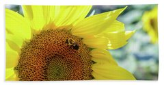 Beach Towel featuring the photograph Maria's Sunflower by Mary Timman
