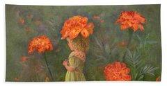 Beach Towel featuring the painting Marigold Flower Fairy by Nancy Lee Moran