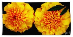 Beach Towel featuring the photograph Marigolds With Oil Painting Effect by Rose Santuci-Sofranko
