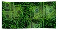 Marijuana Dollars Beach Towel