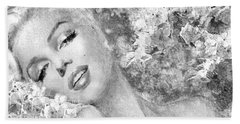 Marilyn Cherry Blossom Bw Beach Towel