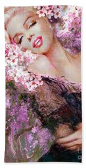 Marilyn Cherry Blossoms Pink Beach Towel