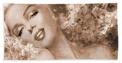 Marilyn Cherry Blossoms, Sepia Beach Towel