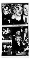 Marilyn Monroe And Joe Dimaggio 1950s Photos By Unknown Japanese Photographer Beach Towel