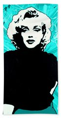 Beach Towel featuring the painting Marilyn Monroe Blue Green Aqua Tint by Bob Baker