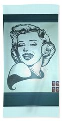 Beach Towel featuring the photograph Marilyn Monroe By Jackie Shearer by Jay Milo