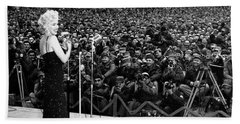 Marilyn Monroe Entertaining The Troops In Korea Beach Towel by American School