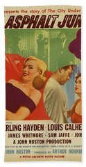 Marilyn Monroe In The Asphalt Jungle Movie Poster Beach Sheet
