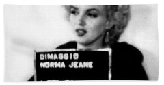Marilyn Monroe Mugshot In Black And White Beach Towel