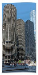 Marina City, Ama Plaza, And Trump Tower Beach Towel