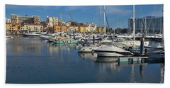 Marina Of Vilamoura At Afternoon Beach Towel by Angelo DeVal