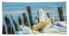 Marina On The Rocks Beach Towel