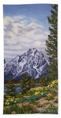 Beach Towel featuring the painting Marina's Edge, Jenny Lake, Grand Tetons by Erin Fickert-Rowland