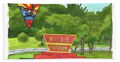Beach Towel featuring the painting Marine Aircraft Group At Mcas Futenma by Betsy Hackett