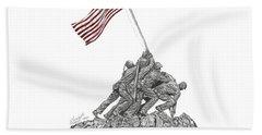 Beach Towel featuring the drawing Marine Corps War Memorial - Iwo Jima by Betsy Hackett