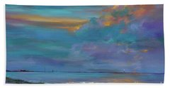 Beach Towel featuring the painting Mariners Beacon by AnnaJo Vahle