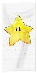 Mario Invincibility Star Watercolor Beach Towel