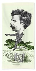 Mark Twain Caricature Colorized Beach Sheet