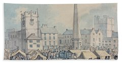 Market Day At Richmond In Yorkshire Beach Towel