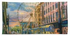 Market Street Metrolink Tramstop With The Manchester Wheel  Beach Towel