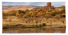 Marmashen Monastery Reflected On Lake At Autumn, Armenia Beach Towel by Gurgen Bakhshetsyan