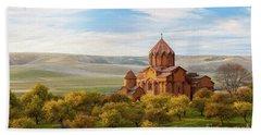 Marmashen Monastery Surrounded By Yellow Trees At Autumn, Armeni Beach Towel by Gurgen Bakhshetsyan
