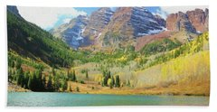 Beach Towel featuring the photograph The Maroon Bells Reimagined 2 by Eric Glaser