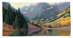 Beach Towel featuring the painting Maroon Bells In October by Janet King