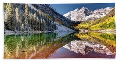Olena Art Sunrise At Maroon Bells Lake Autumn Aspen Trees In The Rocky Mountains Near Aspen Colorado Beach Towel