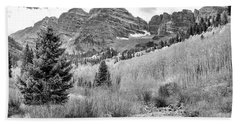 Beach Towel featuring the photograph Maroon Bells Monochrome by Eric Glaser