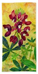 Maroon Bluebonnet Beach Towel by Hailey E Herrera