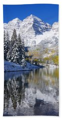 Maroon Lake And Bells 2 Beach Towel