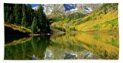 Maroon Lake Autum - 1 Beach Towel