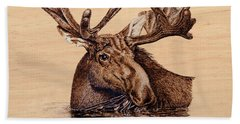 Beach Sheet featuring the pyrography Marsh Moose by Ron Haist
