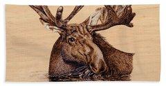Marsh Moose Beach Sheet by Ron Haist
