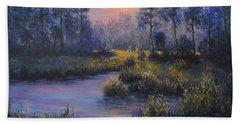 Marsh Sunset Nature Wetland Trees Print Of Panting Beach Towel