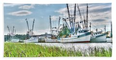 Marsh View Shrimp Boats Beach Towel